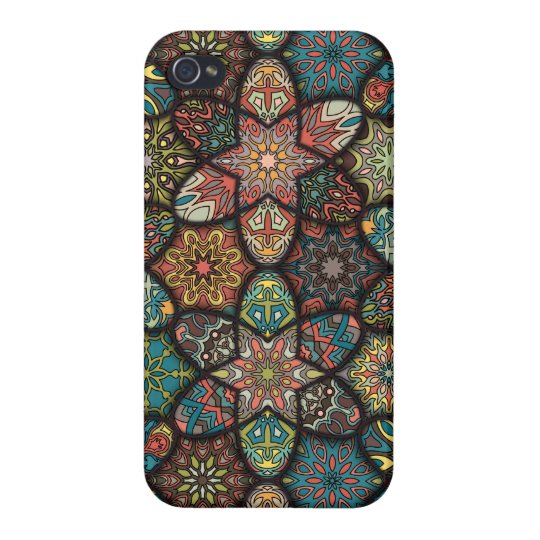 Vintage patchwork with floral mandala elements case for the iPhone 4