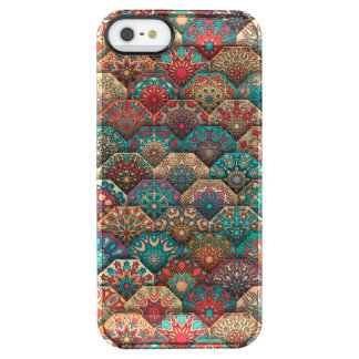 Vintage patchwork with floral mandala elements clear iPhone SE/5/5s case