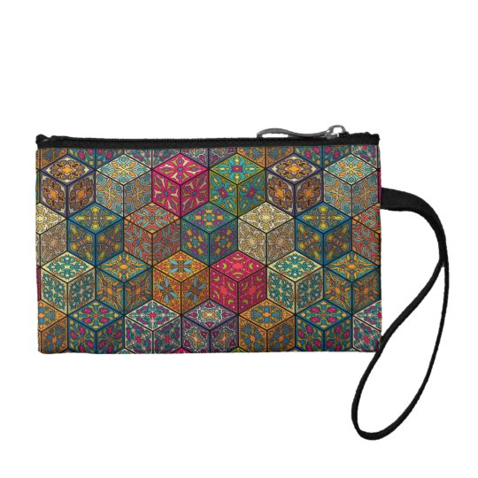 Vintage patchwork with floral mandala elements coin purse