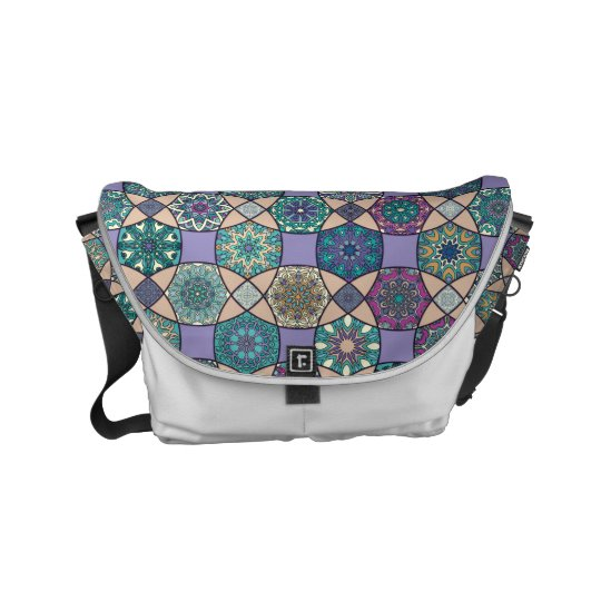 Vintage patchwork with floral mandala elements commuter bag