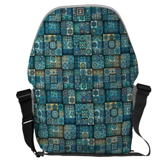 Vintage patchwork with floral mandala elements commuter bags