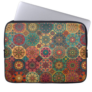 Vintage patchwork with floral mandala elements computer sleeves