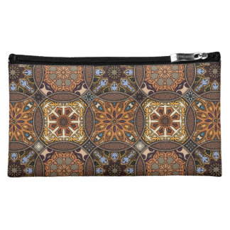 Vintage patchwork with floral mandala elements cosmetic bag