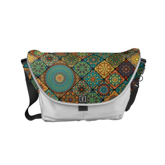 Vintage patchwork with floral mandala elements courier bag
