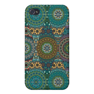 Vintage patchwork with floral mandala elements cover for iPhone 4