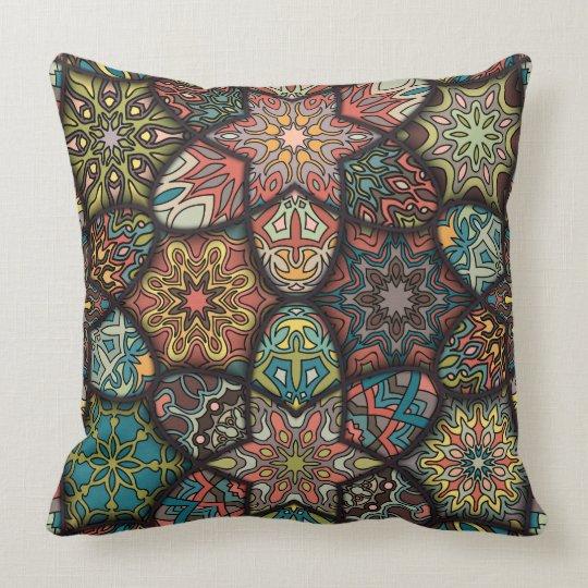 Vintage patchwork with floral mandala elements cushion