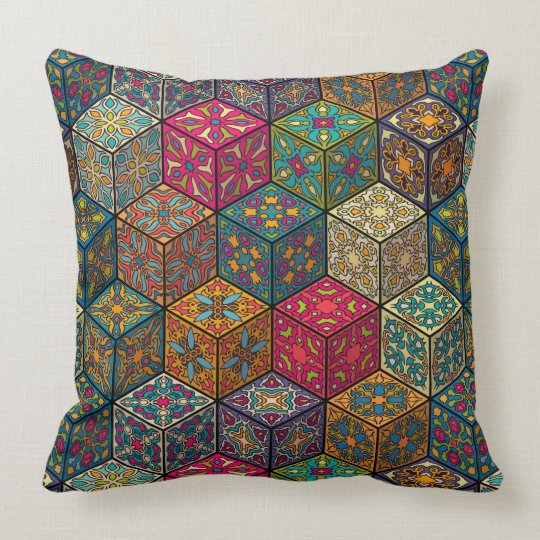 Vintage patchwork with floral mandala elements cushion