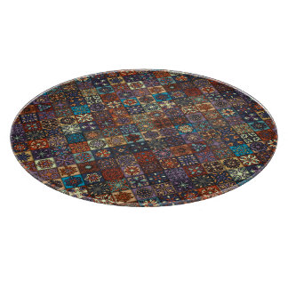 Vintage patchwork with floral mandala elements cutting board
