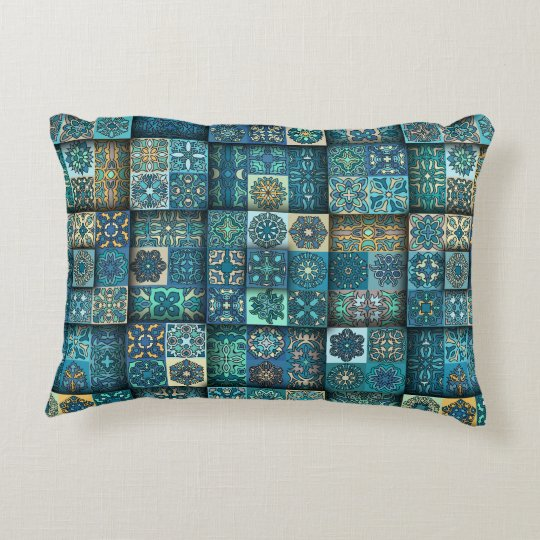 Vintage patchwork with floral mandala elements decorative cushion