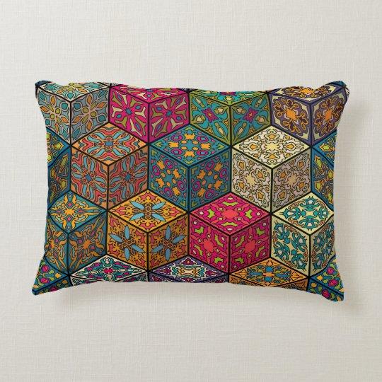 Vintage patchwork with floral mandala elements decorative cushion