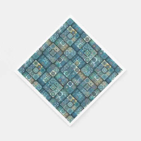 Vintage patchwork with floral mandala elements disposable serviette