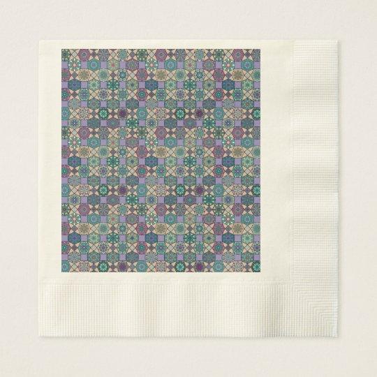Vintage patchwork with floral mandala elements disposable serviettes