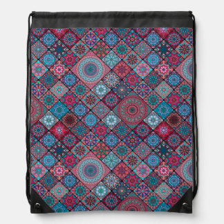 Vintage patchwork with floral mandala elements drawstring bag