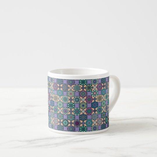 Vintage patchwork with floral mandala elements espresso cup