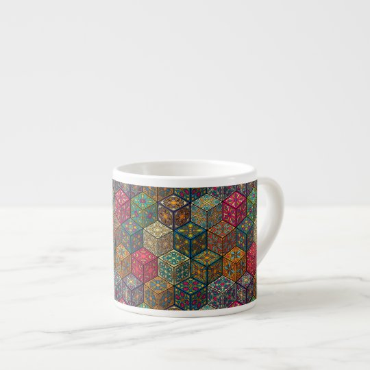 Vintage patchwork with floral mandala elements espresso cup
