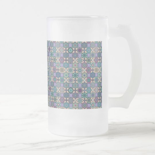 Vintage patchwork with floral mandala elements frosted glass beer mug