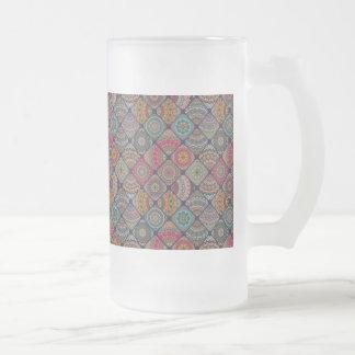 Vintage patchwork with floral mandala elements frosted glass beer mug