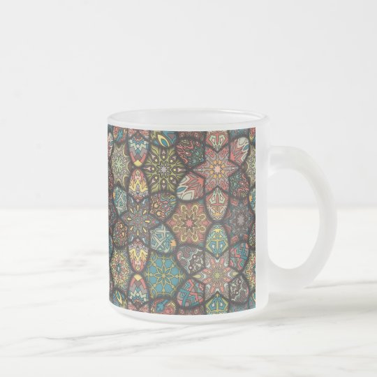 Vintage patchwork with floral mandala elements frosted glass coffee mug