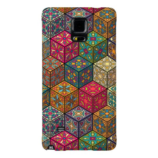 Vintage patchwork with floral mandala elements galaxy note 4 case