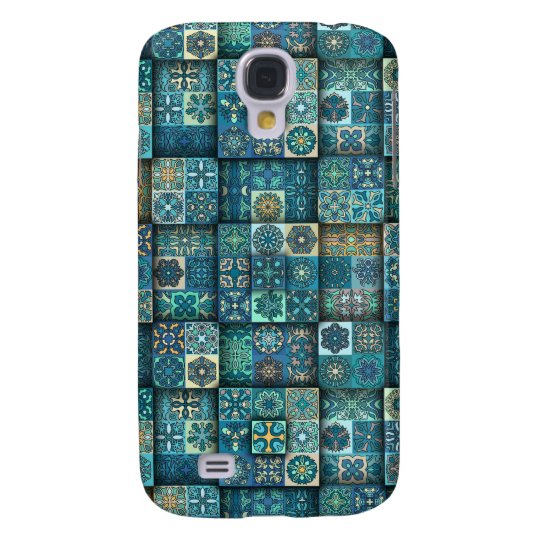 Vintage patchwork with floral mandala elements galaxy s4 cases