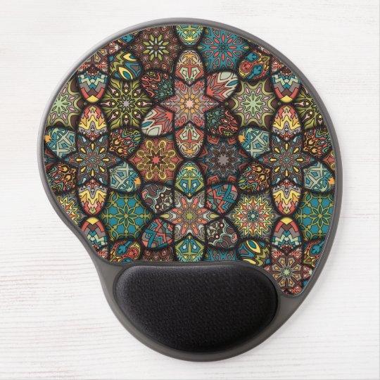 Vintage patchwork with floral mandala elements gel mouse pad
