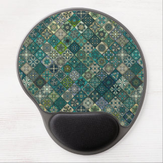 Vintage patchwork with floral mandala elements gel mouse pad
