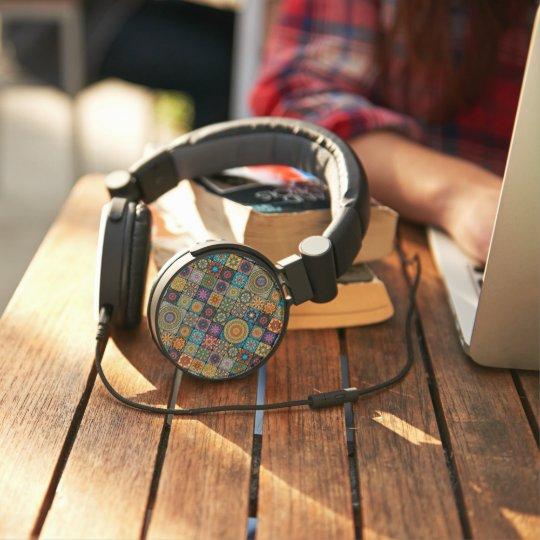 Vintage patchwork with floral mandala elements headphones