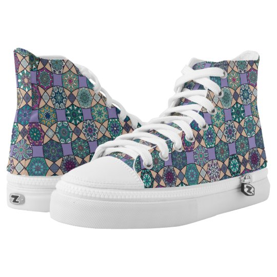 Vintage patchwork with floral mandala elements high tops