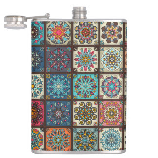 Vintage patchwork with floral mandala elements hip flask
