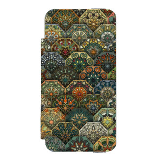 Vintage patchwork with floral mandala elements incipio watson™ iPhone 5 wallet case