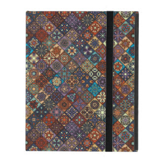 Vintage patchwork with floral mandala elements iPad case