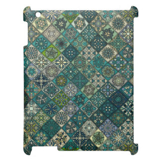 Vintage patchwork with floral mandala elements iPad cases
