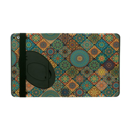 Vintage patchwork with floral mandala elements iPad folio cover