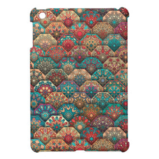 Vintage patchwork with floral mandala elements iPad mini cases