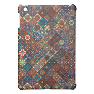 Vintage patchwork with floral mandala elements iPad mini covers