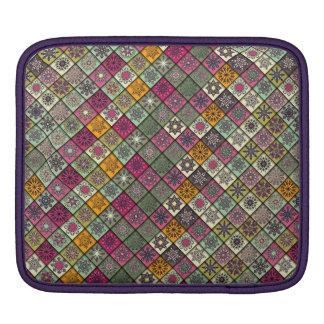 Vintage patchwork with floral mandala elements iPad sleeve