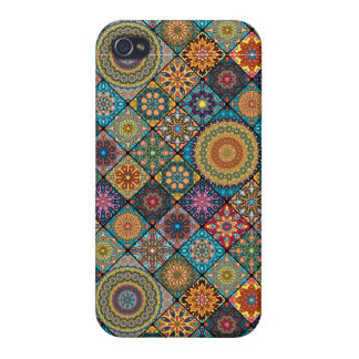 Vintage patchwork with floral mandala elements iPhone 4/4S covers
