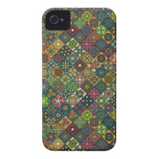 Vintage patchwork with floral mandala elements iPhone 4 covers