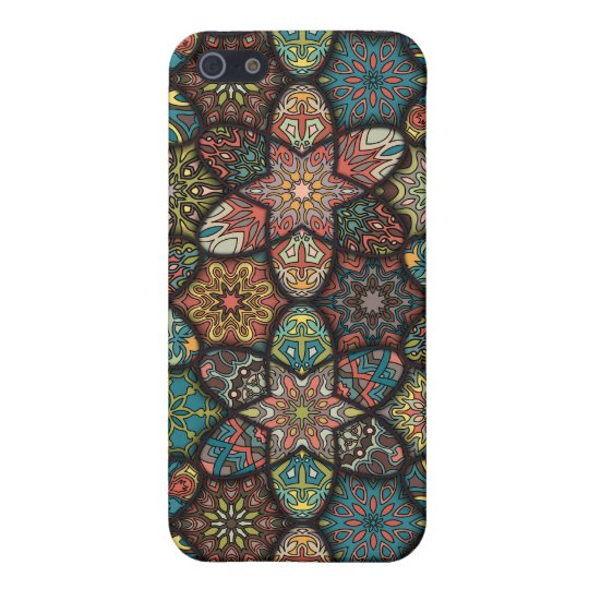 Vintage patchwork with floral mandala elements iPhone 5/5S cases