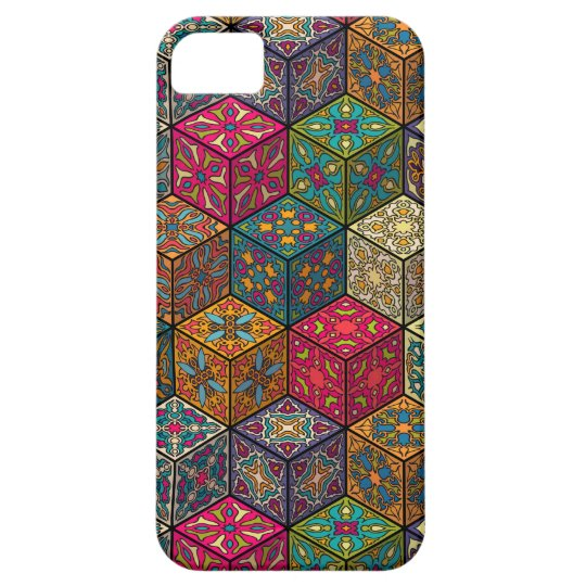Vintage patchwork with floral mandala elements iPhone 5 covers