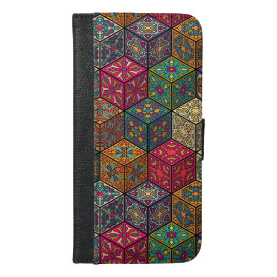 Vintage patchwork with floral mandala elements iPhone 6/6s plus wallet case