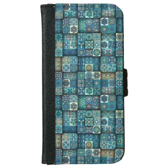 Vintage patchwork with floral mandala elements iPhone 6 wallet case