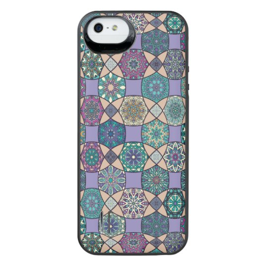 Vintage patchwork with floral mandala elements iPhone SE/5/5s battery case