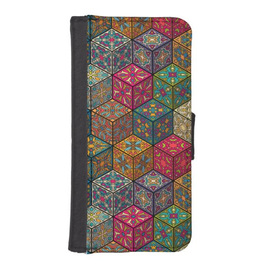 Vintage patchwork with floral mandala elements iPhone SE/5/5s wallet case