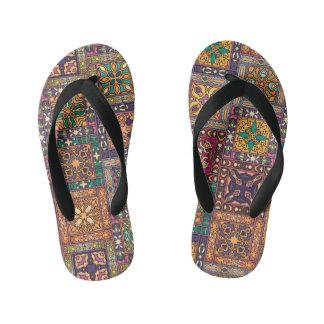 Vintage patchwork with floral mandala elements kid's thongs
