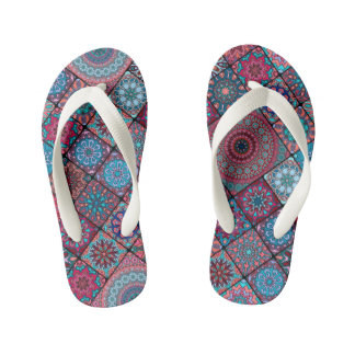 Vintage patchwork with floral mandala elements kid's thongs