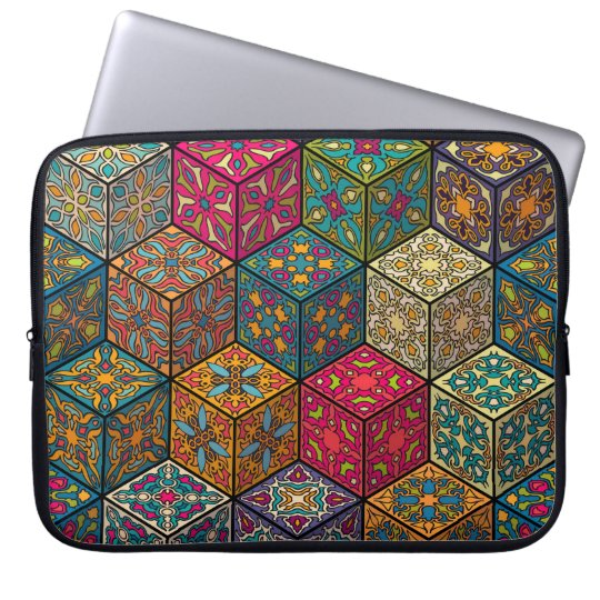 Vintage patchwork with floral mandala elements laptop sleeve