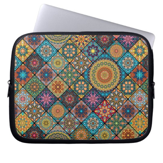 Vintage patchwork with floral mandala elements laptop sleeves