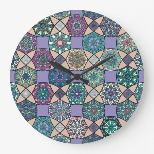 Vintage patchwork with floral mandala elements large clock