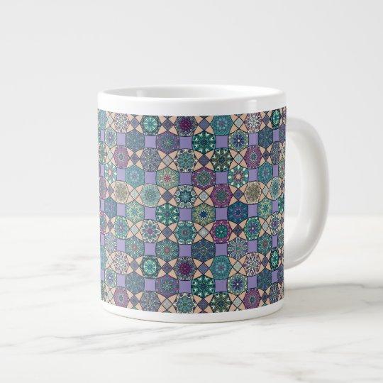 Vintage patchwork with floral mandala elements large coffee mug